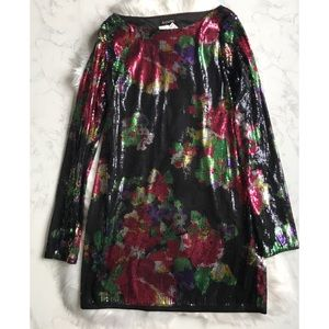 Express Black Sequin Floral Dress